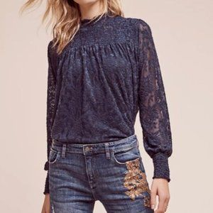 ANTHROPOLOGIE Deletta Ruched Neck Amanna Lace Top